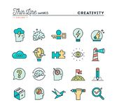 Creativity, imagination, problem solving, mind power and more, t. Hin line color icons set, vector illustration royalty free illustration