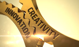 Creativity Innovation Concept. Golden Metallic Cog Gears. 3D. Royalty Free Stock Photos