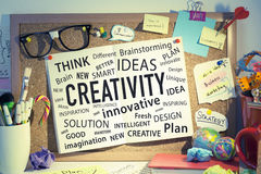 Creativity Innovation Ideas Business Solutions. Concept for business creativity, innovative ideas, different solutions, teamwork thinking and brainstorming royalty free stock image