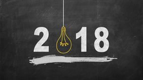 2018 creativity inspiration concepts with lightbulb on blackboard. Business ideas.  Stock Image