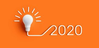 2020 creativity inspiration concepts with lightbulb on color background.Business solution