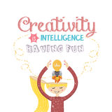 Creativity is intelligence having fun quotes on creative mind rocket bulb lamp. Vector Royalty Free Stock Photo