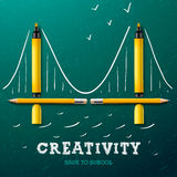 Creativity learning. Bridge made with pencils Stock Photos
