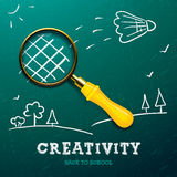 Creativity learning. Racket - magnifying glass Stock Images