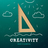 Creativity learning. Sailing ship with triangle Royalty Free Stock Photos