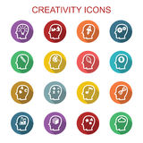 Creativity long shadow icons. Flat vector symbols Stock Photo