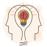 Creativity mind heads brain bulb efficient memory team. Vector illustration Royalty Free Stock Photography