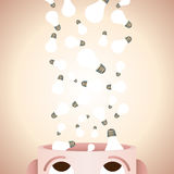 Creativity in Mind. Vector illustration of numerous lightbulbs pouring into a mans head Royalty Free Stock Photography