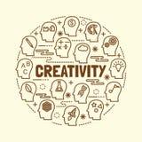 Creativity minimal thin line icons set Royalty Free Stock Image