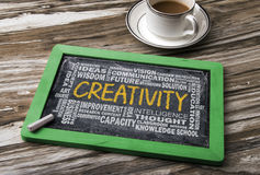 Creativity with related word cloud Stock Image