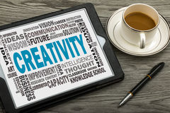 Creativity with related word cloud Stock Photos