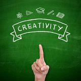 Creativity of student, conceptual design. Creativity. Education concept, hand drawn doodles on green chalkboard. A student's finger pointing up, symbolize the Stock Photos