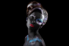 Creativity. Styled Fancy Woman with Art Artistic Makeup. Vogue Style Stock Image