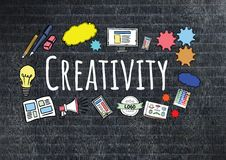 Creativity text with drawings graphics Royalty Free Stock Image