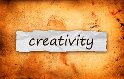 Creativity title on piece of paper stock images