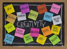 Creativity word cloud on blackboard. Creativity concept - related cloud of words, color sticky notes and white chalk handwriting on blackboard Stock Photos