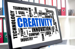 Creativity word cloud concept on a computer screen Royalty Free Stock Image
