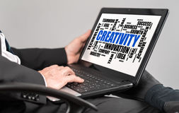 Creativity word cloud concept on a laptop Royalty Free Stock Photos