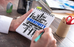 Creativity word cloud concept on a notepad Stock Photo