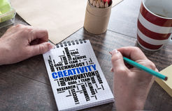 Creativity word cloud concept on a notepad. Creativity word cloud concept drawn on a notepad royalty free stock photos