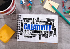 Creativity word cloud concept on a notepad Royalty Free Stock Photography