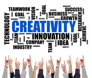 Creativity word cloud concept pointed by several fingers Royalty Free Stock Photo