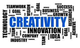 Creativity word cloud concept on white background. Creativity word cloud concept drawn on a white background stock photos