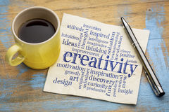 Creativity word cloud on napkin Stock Images