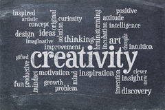 Creativity word cloud on slate blackboard. Creativity concept - a word cloud - text in white chalk  on a  vintage slate blackboard Royalty Free Stock Images