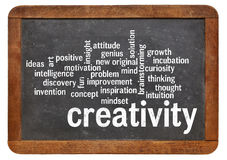 Creativity word cloud word cloud on blackboard Stock Photo