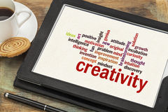 Creativity word cloud. Cloud of words or tags related to creativity on a  digital tablet with a cup of coffee Royalty Free Stock Photography
