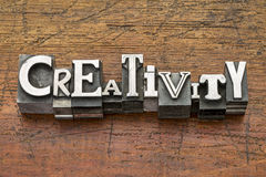 Creativity word in metal type. Creativity word in mixed vintage metal type printing blocks over grunge wood stock photography