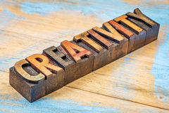 Creativity word in wood type Stock Images