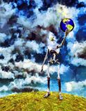 Creator. Alien robot holds planet Earth in his hand. Oil painting. 3D rendering Royalty Free Stock Photography