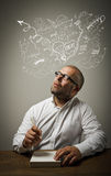 Creator. Man in thoughts. Stock Images