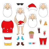 Creator Santa Claus set. With clothes, faces, fast food, glasses. have fun in the New Year`s/Christmas holiday Royalty Free Stock Photos