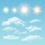 Creatore del cielo Nuvole e sole realistici stabiliti Vettore royalty illustrazione gratis