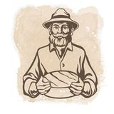Creatore del formaggio, agricoltore, forma di formaggio royalty illustrazione gratis