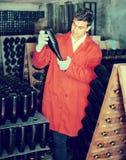 Creatore del vino che prende cura delle bottiglie del condimento Immagine Stock Libera da Diritti