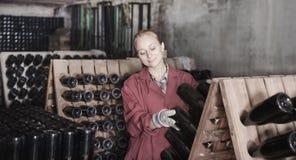Creatore del vino che prende cura delle bottiglie del condimento Fotografie Stock