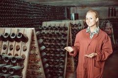 Creatore del vino che prende cura delle bottiglie del condimento Immagini Stock