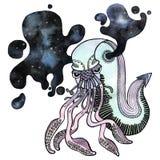 Creatura del mare dell'acquerello su fondo bianco immagini stock