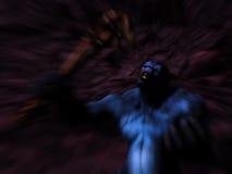 Creatura del mostro che ringhia in caverna del torrione Fotografie Stock