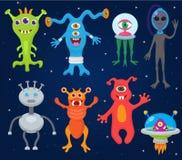 Creatura estranea sveglia di vettore del mostro del carattere mostruoso straniero del fumetto o folletto divertente su Halloween  royalty illustrazione gratis