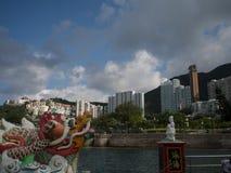 Creatura leggendaria antica di Dragon Statue The nella fantasia del ` s della Cina fotografia stock