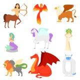 Creatura mitica Phoenix di vettore animale mitologico o caratteri di firebird di fantasia del pupazzo di neve della sirena di mit illustrazione di stock