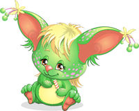 Creature. Beautiful green being with big ears royalty free illustration