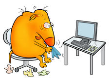 Creature with a cold, working at office. Unwell creature with a cold, working at office Royalty Free Stock Photography