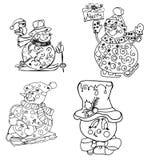 Creature dei nuovi anni di favola dei pupazzi di neve di Natale per la coloritura del ch Immagini Stock