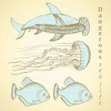 Creature del mare di schizzo nello stile d'annata royalty illustrazione gratis